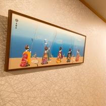 京都の老舗綿布商『永楽屋』の手ぬぐい(館内2階廊下)
