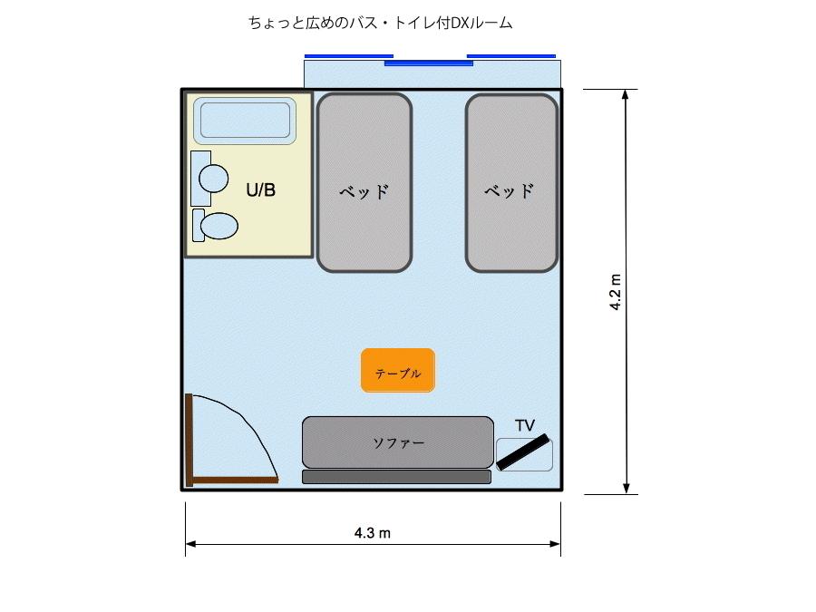バス・トイレ付DXルーム間取り図
