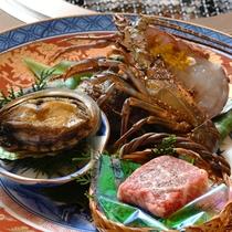 【炭火会席人気NO.1】海鮮炭火焼 メインが鮑・牛・伊勢海老からチョイスプランの選択食材
