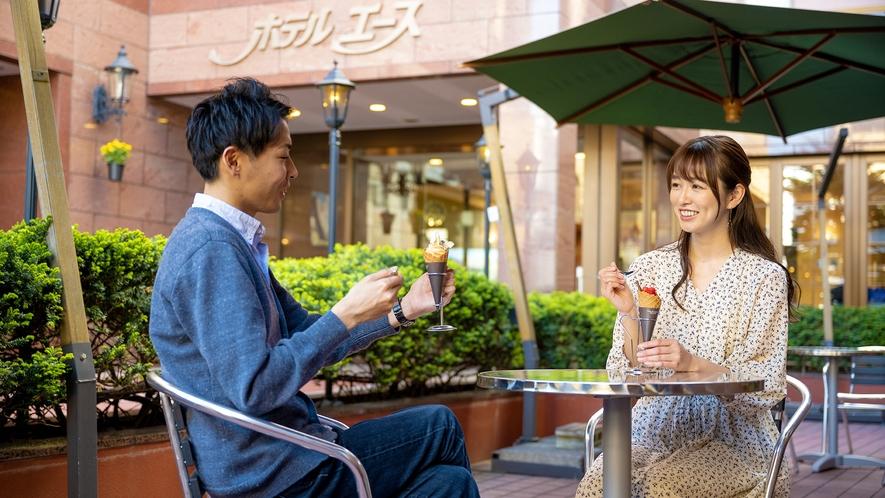 【朝カフェ】 晴れた日にはテラスにてお食事が出来ます♪