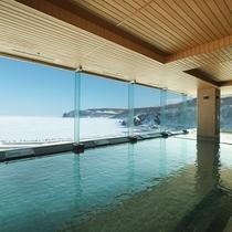 【大浴場】冬は流氷を見ながらの一時を