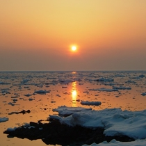 【風景】夕陽に照らされる流氷。流氷の去り際も幻想的です。