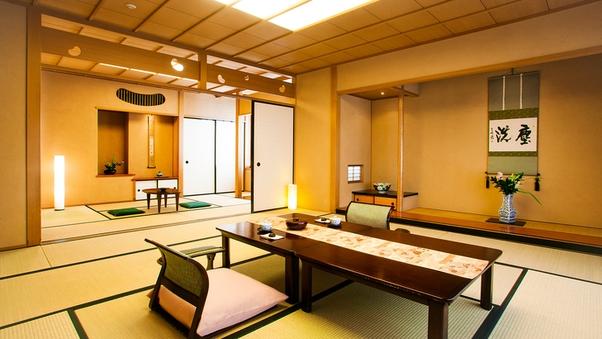 ■檜風呂付和室■広々の二間客室/12.5+6畳・禁煙