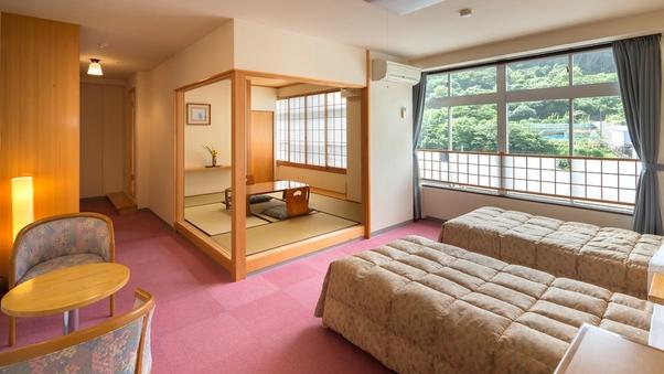 【山側和洋室】〔ツインベッド+6畳〕〜リーズナブルに満喫〜