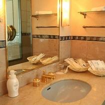DXルームバスルーム:大きな鏡が使いやすい洗面台