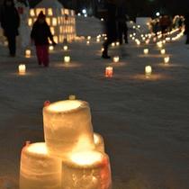 【ゆきあかりin中島公園】雪の灯篭がやさしく夜を照らします