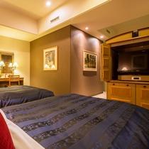 【Jrスイート】幅115cmのベッドが2台。寛ぎの時間をお過ごし下さい♪