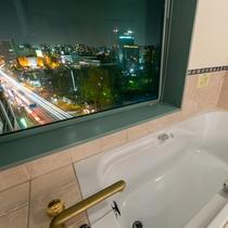 DXダブルルームのバスルームの広い湯船で日頃の疲れを癒してみませんか?