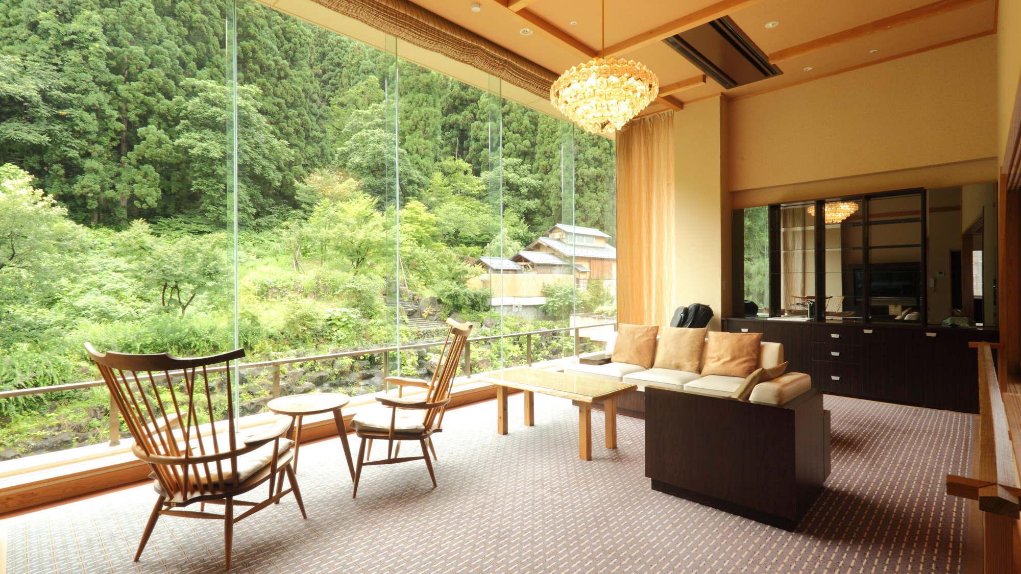 【特別露天風呂付客室木〜150平米 リビング】お食事はお部屋出し
