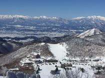 東館山から高天ヶ原地区、西舘ゲレンデ、そして後ろに北アルプスが綺麗に臨めるお写真