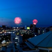 ホテルから見た隅田川花火大会