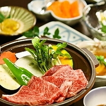 【夕食】豊後牛陶板焼きがメイン!!