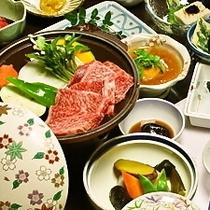【夕食】豊後牛陶板焼きがメイン!