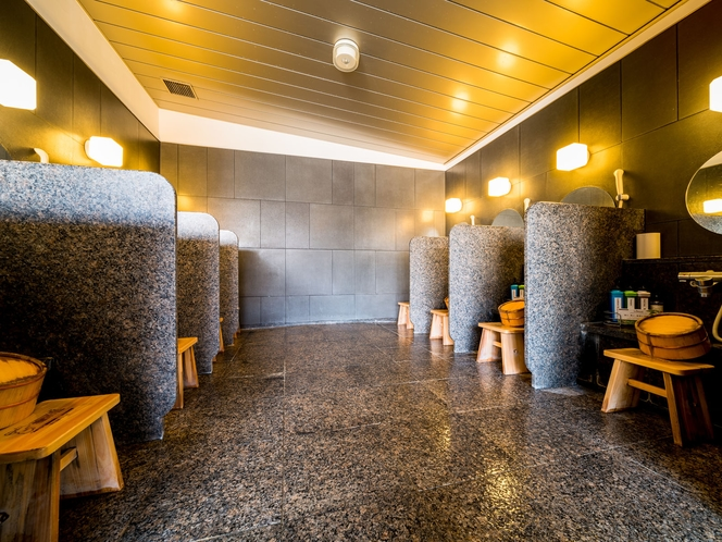 【天然温泉】洗い場 広い洗い場をご用意しております♪