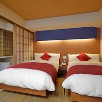 和モダン風!露天風呂付き客室一例。ふかふかのベッドルームのお部屋タイプ。