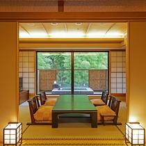 箱根の山々を眺めながらのんびりと湯浴みができる露天風呂客室。