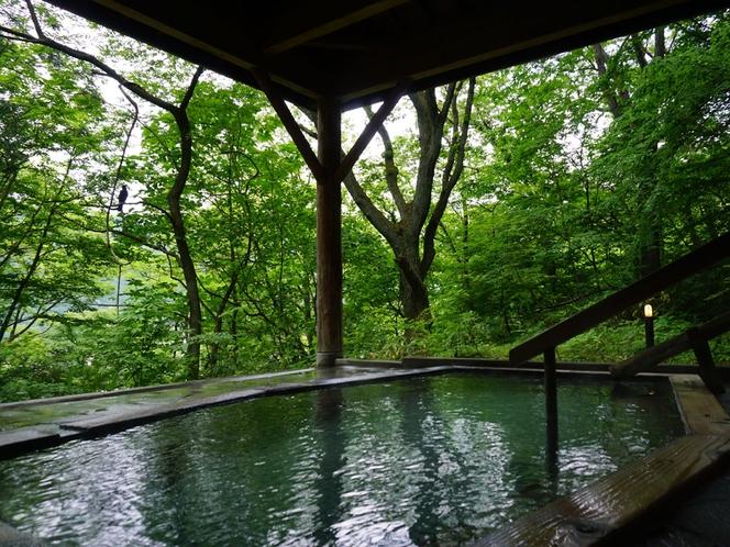 新緑に包まれる貸切露天風呂「茜の湯」(春)