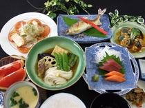 郷土料理、水入らずプラン夕食例