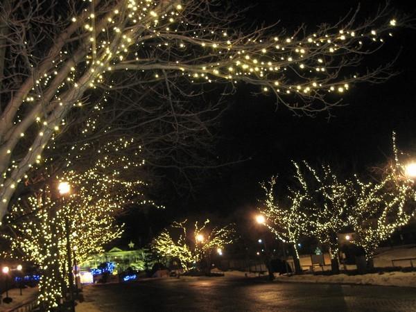 元町公園の下の基坂のライトアップ
