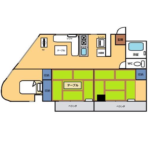 【禁煙】和洋室60平米・3LDKキッチン付き_間取り