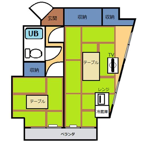 【禁煙】和室2間(28平米)・キッチン無し_間取り