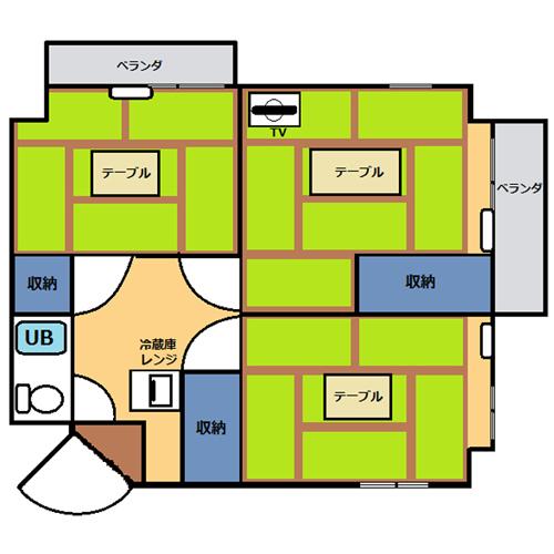 【禁煙】和室3間(40~50平米)・キッチン無し_間取り