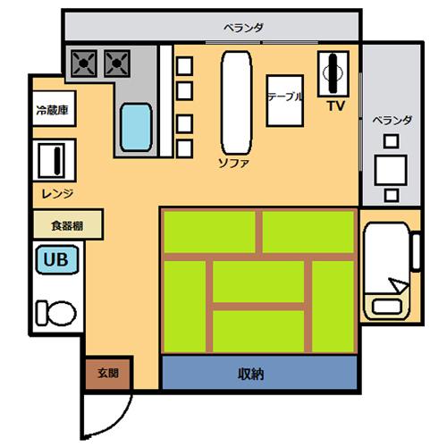 【禁煙】高層階DXルーム(36平米)・キッチン付き_間取り