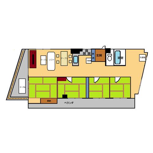 【禁煙】高層階和室4間(100平米)・キッチン付き_間取り