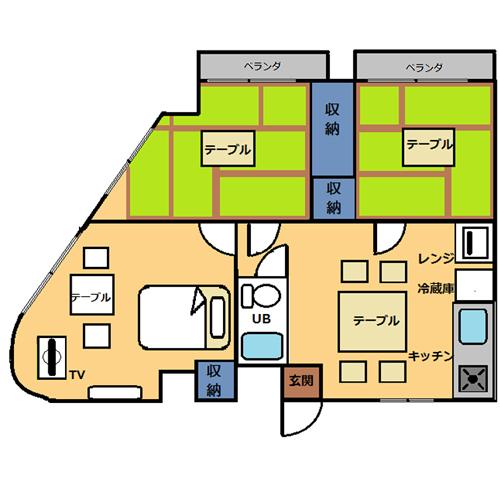 【禁煙】和洋室50平米・3DKキッチン付き_間取り