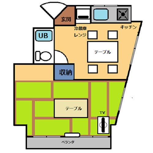 【禁煙】和室30平米・キッチン付き_間取り