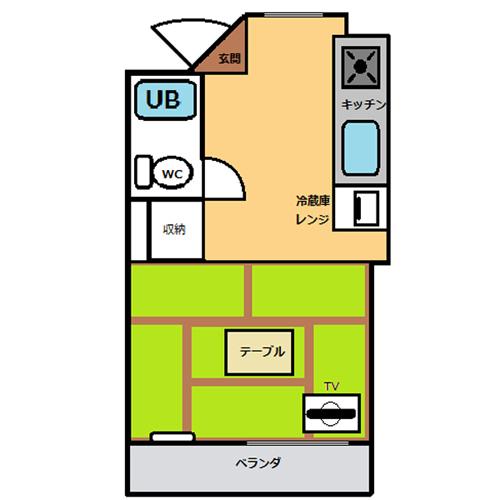 【禁煙】和室20平米・キッチン付き_間取り
