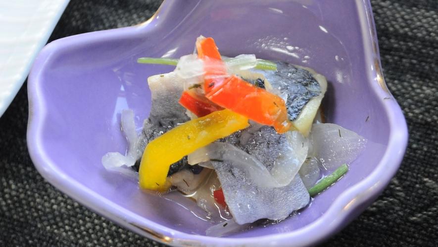 【夕食】ニシンの酢の物 留萌ならではの新鮮な海の幸をご堪能ください