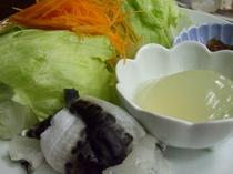 美福鍋(ふぐ)レタスとコラーゲン玉とふぐ皮