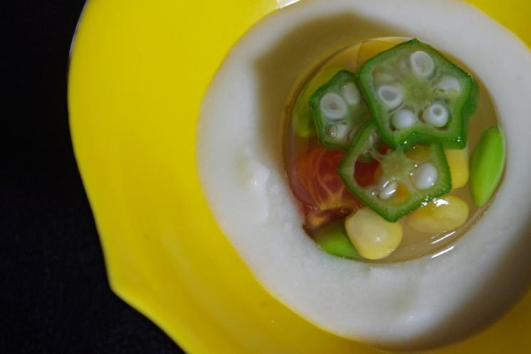 水無月:夏野菜ゼリ-寄せ ビシソワ-ズソ-ス
