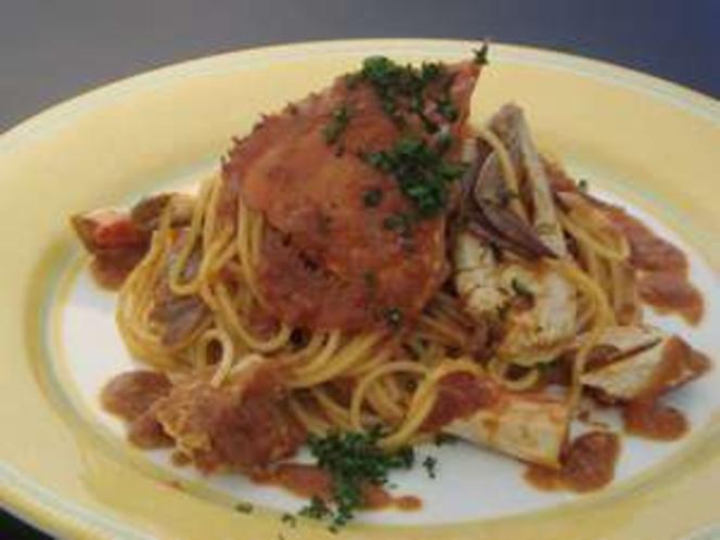 絶品、ワタリガニのスパゲティー