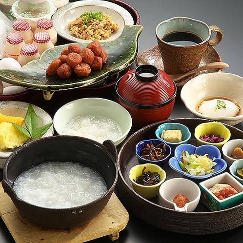 【朝食】おかゆ膳 おかゆに合う薬味がいっぱい♪目でも楽しめるお腹にやさしい朝ごはんです