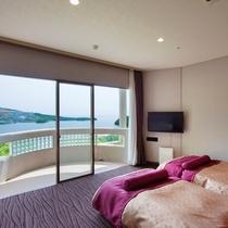 【スーペリアルーム】当館初!お目覚めの際に鳥羽湾をご覧頂ける海向きベッドのお部屋です♪