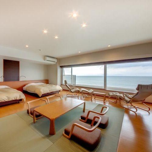 客室 海側 プレミアム和洋室 ワイドビュー(クイーン2ベッド+6畳)