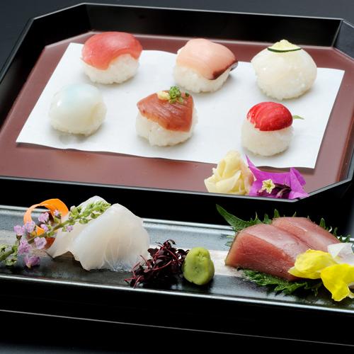 新鮮なお造りと彩鮮やかな豆寿司をご賞味ください