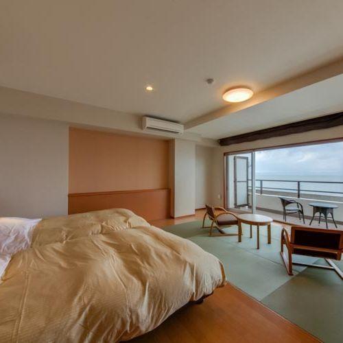 客室 海側 プレミアム和洋室 ベランダ付(セミダブル×2ベッド+6畳)