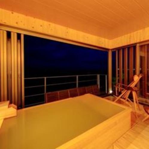 貸切半露天風呂「湯癒」風呂場の灯りを消せば、満天の星空を独り占め