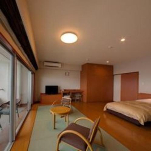 客室 海側 プレミアム和洋室 ベランダ付(セミダブル×2ベッド+5畳)