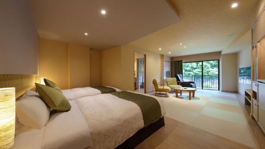 ◆リラックス和洋室:広さは約52㎡。シモンズベッド2台に畳スペースのリラックス和洋室