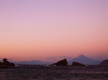 夕日の富士山