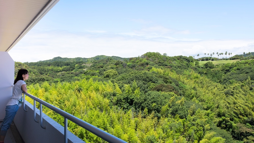 山側景観客室からは土佐の雄大な山並みと大空のコントラスト、またゴルフ場をご覧いただけます。