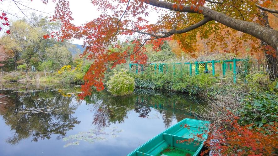 色づく木々が水鏡にうつりこむ風景はまるでモネの描く世界のよう。