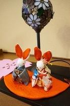 *ウサギが館内でお出迎え