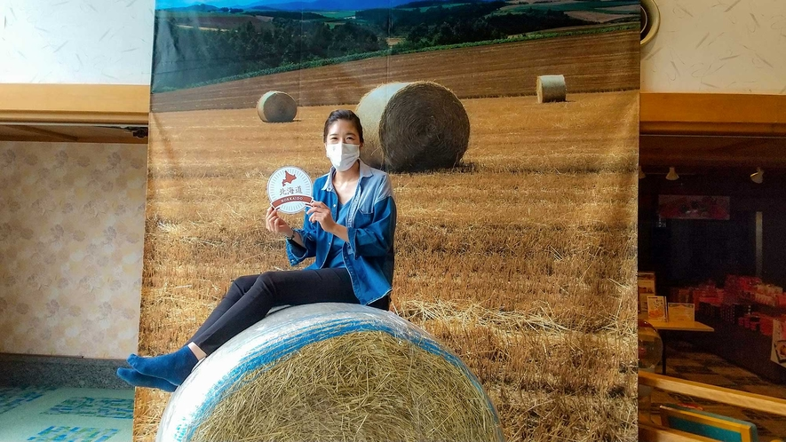 北海道 牧草ロールのフォトスポット(9/1~11/30)/直径1.2mの巨大な牧草ロールがロビーに登