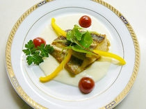 夕食の魚料理