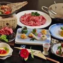 【肉づくし会席】ブランド食材「しまね和牛」をステーキ・朴葉味噌焼き・しゃぶしゃぶでお愉しみ下さい。
